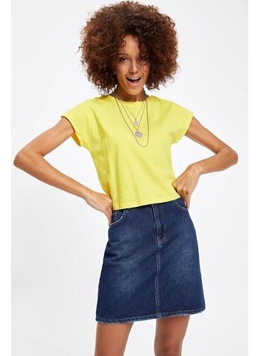 DeFacto Basic Kısa T-shirt Sarı